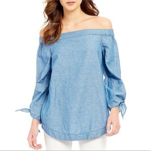 FREE PEOPLE Show Me Some Shoulder chambray top